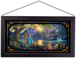 "The Princess and the Frog - 13"" x 23"" Framed Glass Art 107194"