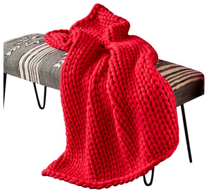 Red Cinema Chunky Knit Throw Blanket 109069