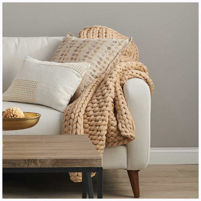 Desert Gold Chunky Knit Throw Blanket 109070