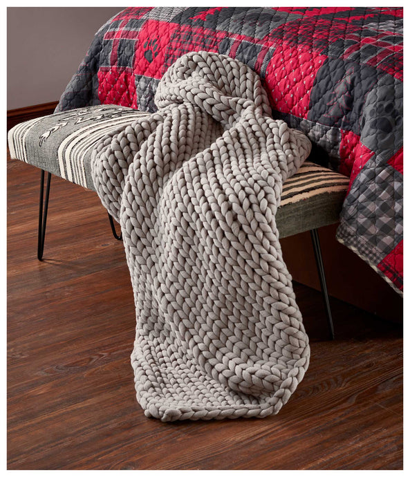 Grey Frost Chunky Knit Throw Blanket 109071