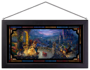 "Beauty and the Beast Dancing in the Moonlight - 13"" x 23"" Framed Glass Art 111693"