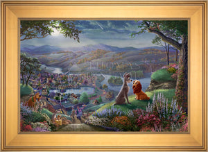 Disney Lady and the Tramp Falling in Love - Limited Edition Canvas (SN - Standard Numbered) - ArtOfEntertainment.com