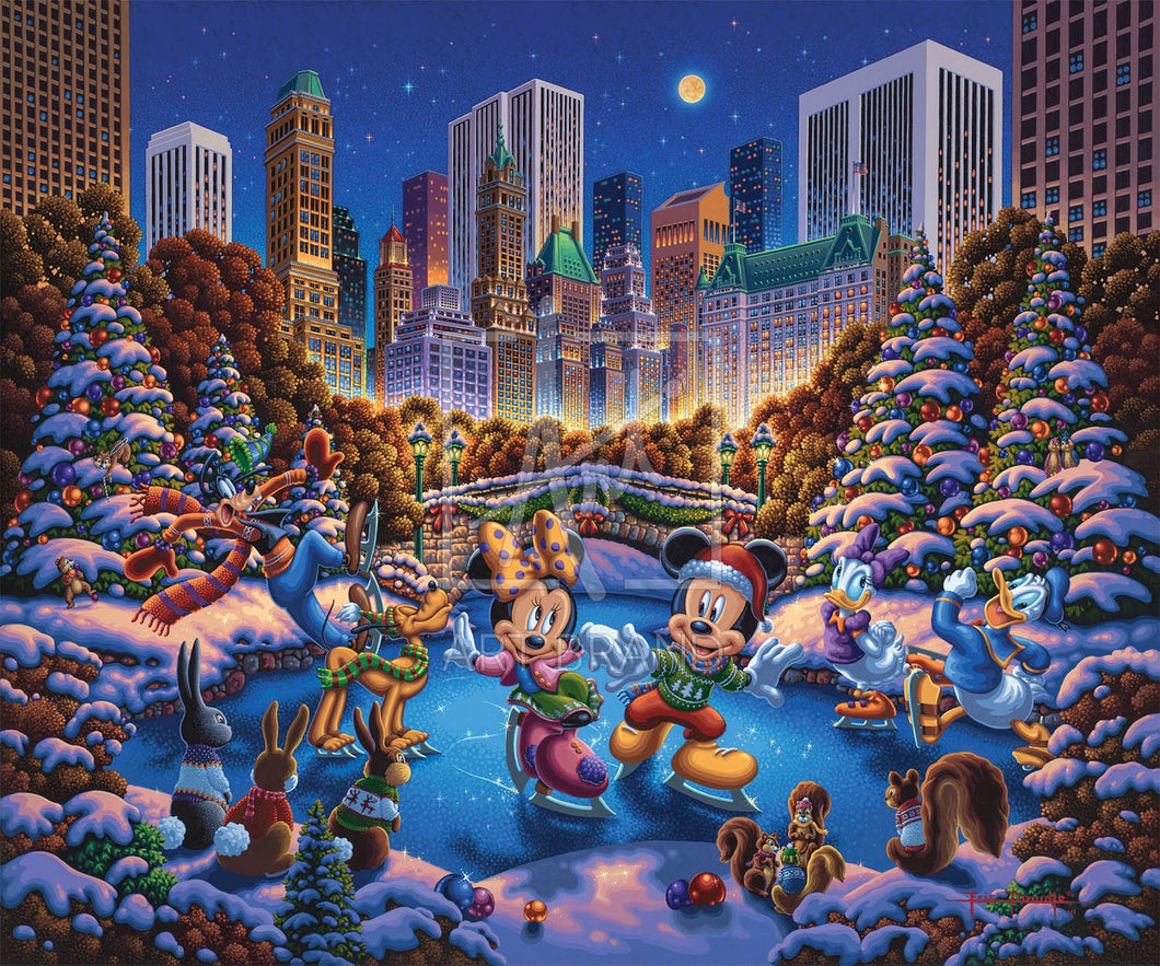 Mickey and Friends Skating in Central Park - Limited Edition Canvas - AP - (Unframed)