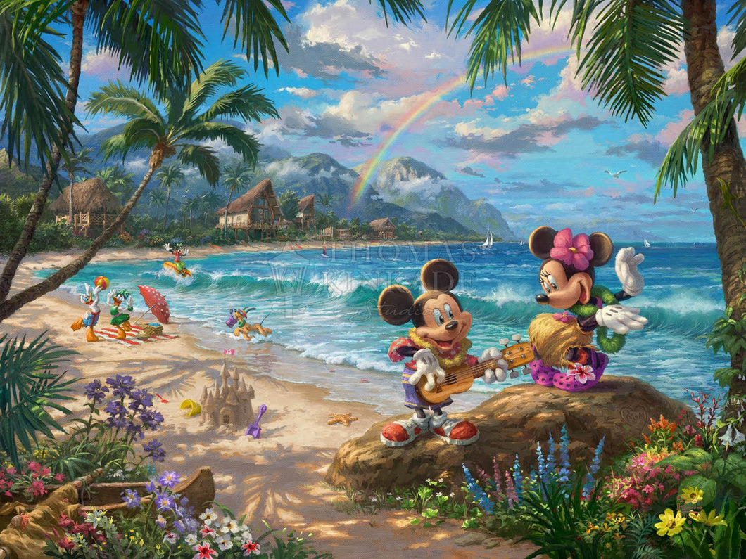Mickey and Minnie in Hawaii - Limited Edition Canvas - SN - (Unframed)