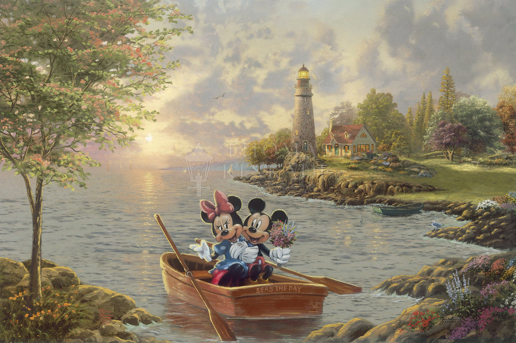 Mickey and Minnie Lighthouse Cove - Limited Edition Canvas - SN - (Unframed)