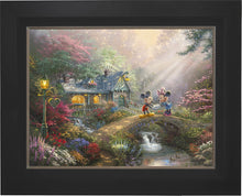 Load image into Gallery viewer, Mickey and Minnie - Sweetheart Bridge - Limited Edition Canvas (JE - Jewel Edition) - ArtOfEntertainment.com