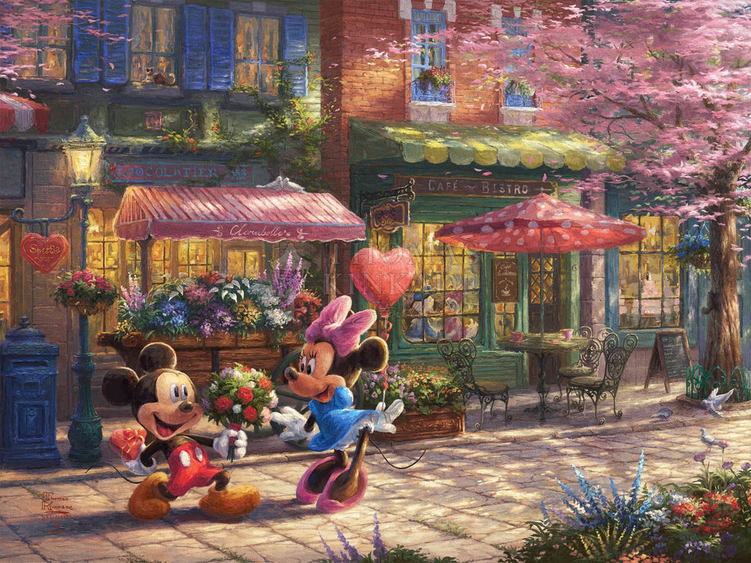 Disney Mickey and Minnie - Sweetheart Café - Limited Edition Canvas - JE - (Unframed)