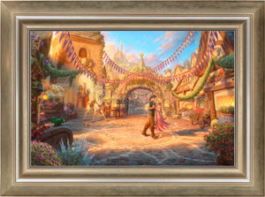 Rapunzel Dancing in the Sunlit Courtyard - Limited Edition Canvas (JE - Jewel Edition) - ArtOfEntertainment.com