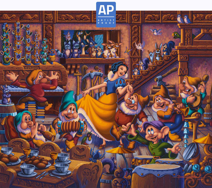 Snow White Dancing with the Dwarfs - Limited Edition Canvas (AP - Artist Proof) - ArtOfEntertainment.com