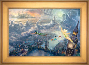 Tinker Bell and Peter Pan Fly to Never Land - Limited Edition Canvas (SN - Standard Numbered) - ArtOfEntertainment.com
