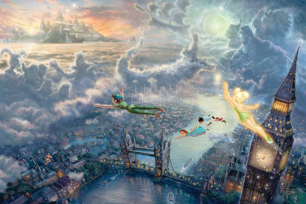 Tinker Bell and Peter Pan Fly to Neverland - Limited Edition Canvas - SN - (Unframed)