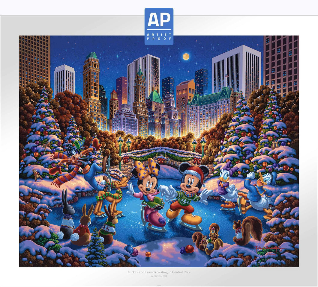 Mickey and Friends Skating in Central Park - Limited Edition Paper (AP - Artist Proof) - ArtOfEntertainment.com