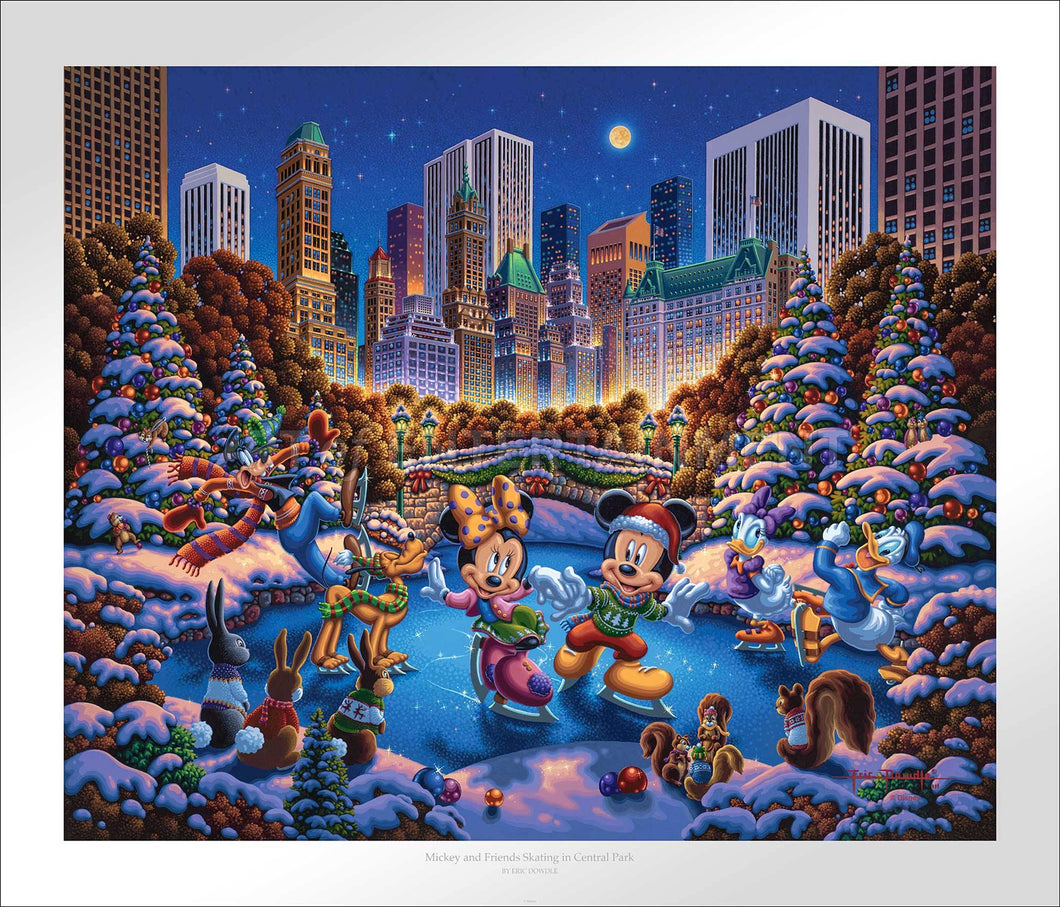 Mickey and Friends Skating in Central Park - Limited Edition Paper - SN - (Unframed)