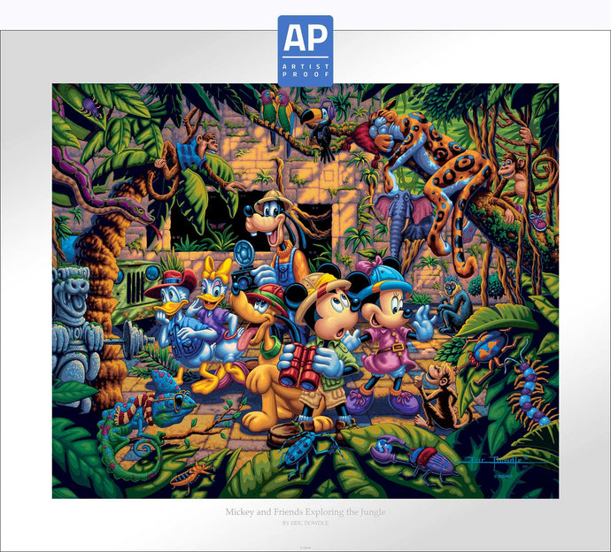 Mickey and Friends Exploring the Jungle - Limited Edition Paper (AP - Artist Proof) - ArtOfEntertainment.com