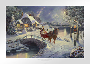 Mickey and Minnie Evening Sleigh Ride - Limited Edition Paper - SN - (Unframed)