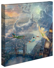 "Load image into Gallery viewer, Tinker Bell and Peter Pan Fly to Neverland - 14"" x 14"" Gallery Wrapped Canvas 51152"