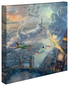 "Tinker Bell and Peter Pan Fly to Neverland - 14"" x 14"" Gallery Wrapped Canvas 51152"