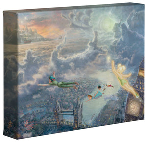 Tinker Bell and Peter Pan Fly to Never Land - Gallery Wrapped Canvas - ArtOfEntertainment.com