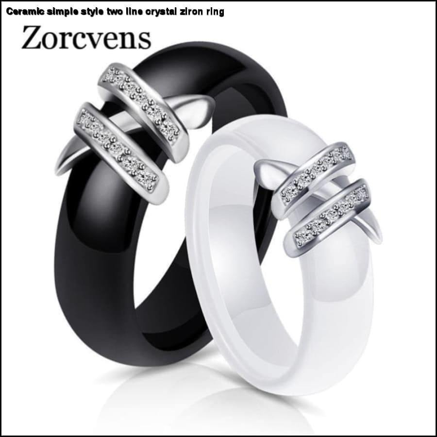 Rxcostore - Ceramic Simple Style Two Line Crystal Ziron Ring