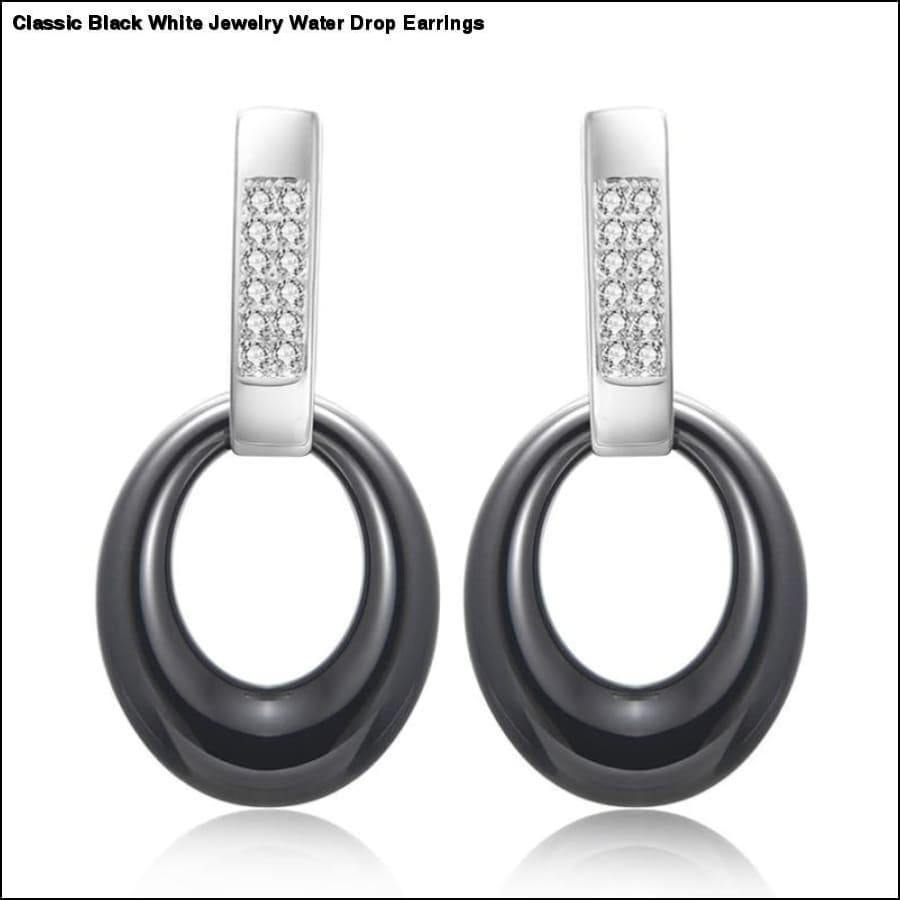 Rxcostore - Classic Black White Jewelry Water Drop Earrings