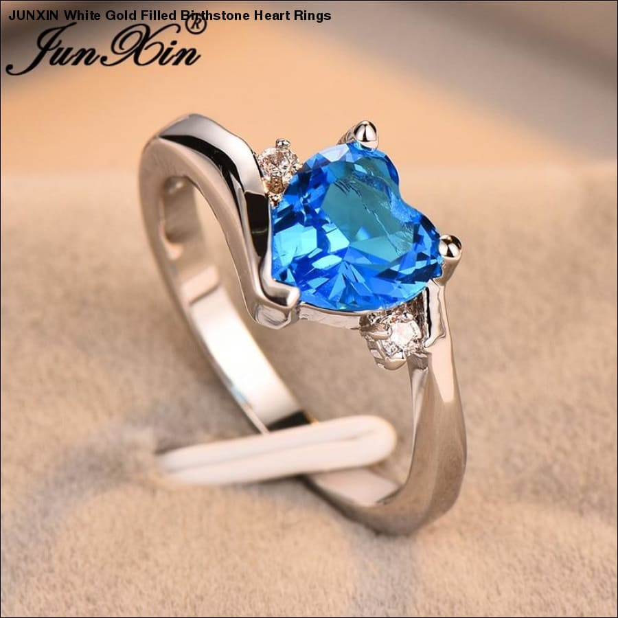 Rxcostore - Junxin White Gold Filled Birthstone Heart Rings