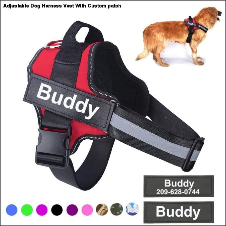 Rxcostore - Adjustable Dog Harness Vest with Custom Patch -