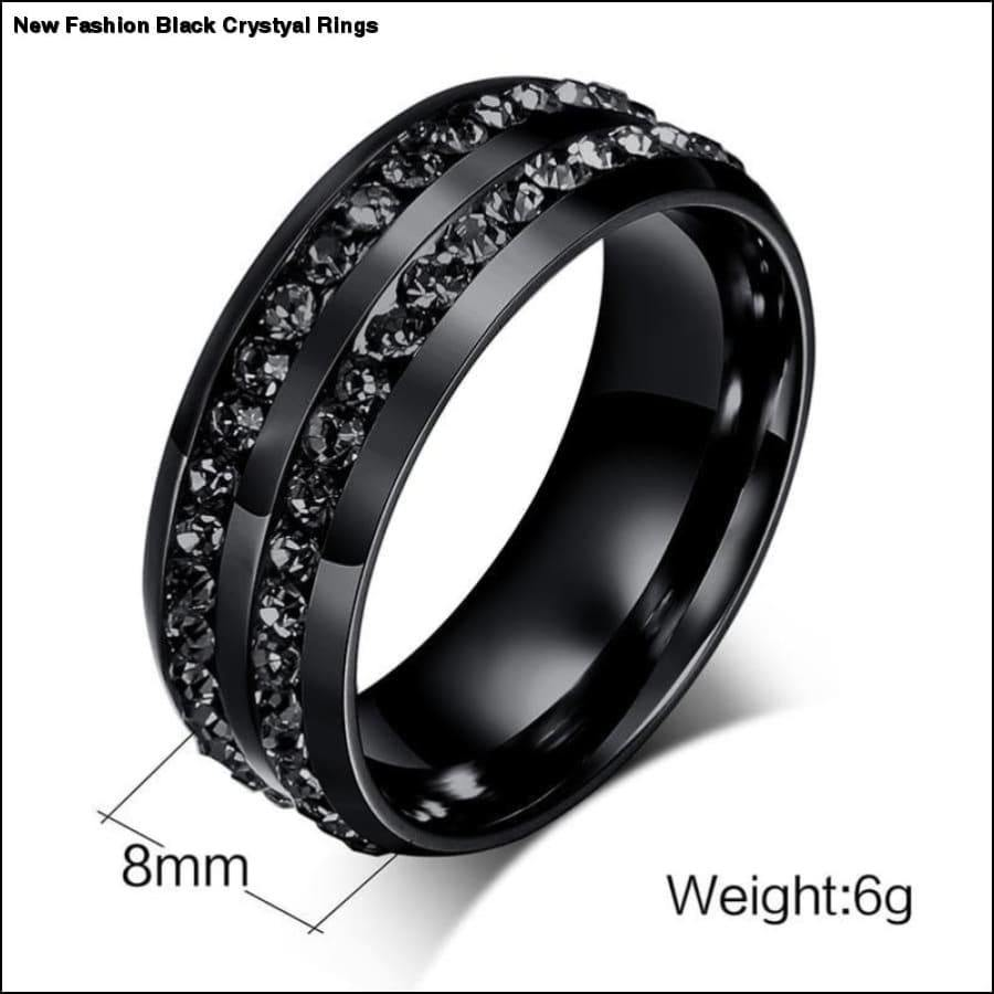 Rxcostore - new Fashion Black Crystyal Rings rxcostore.com -