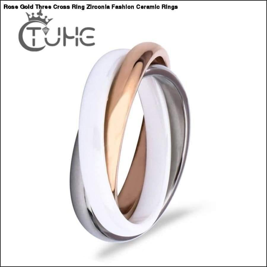 Rxcostore - Rose Gold Three Cross Ring Zirconia Fashion -