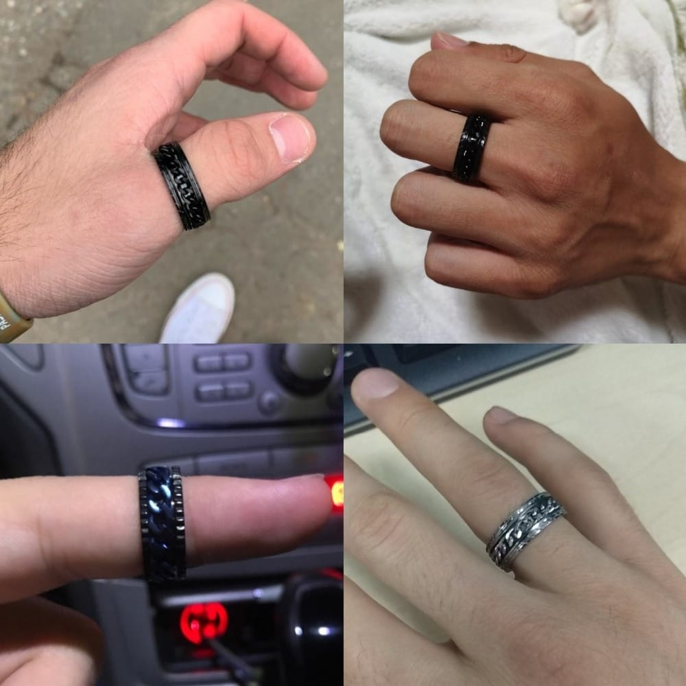 Letdiffery Cool Stainless Steel Rotatable Men Ring