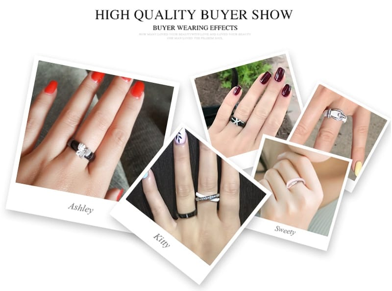 Rose Gold Three Cross Ring Zirconia Fashion Ceramic Rings