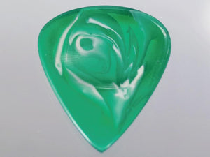 Animals Pedal Wild Picks (RE-TD-D-GW-2.0) Resin Tear Drop Dent Green and White 2mm