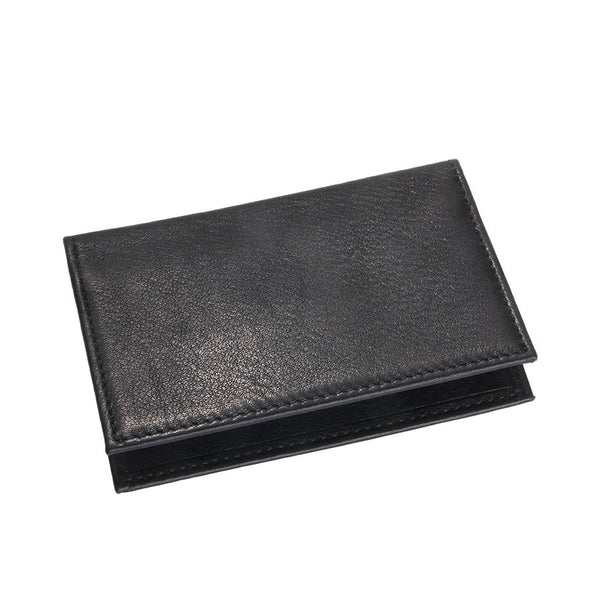 Fold-Over Business Card Case Black Traditional Leather