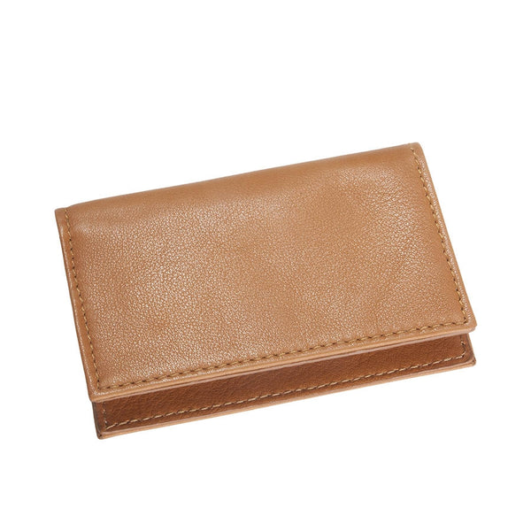 Fold-Over Business Card Case British Tan Traditional Leather
