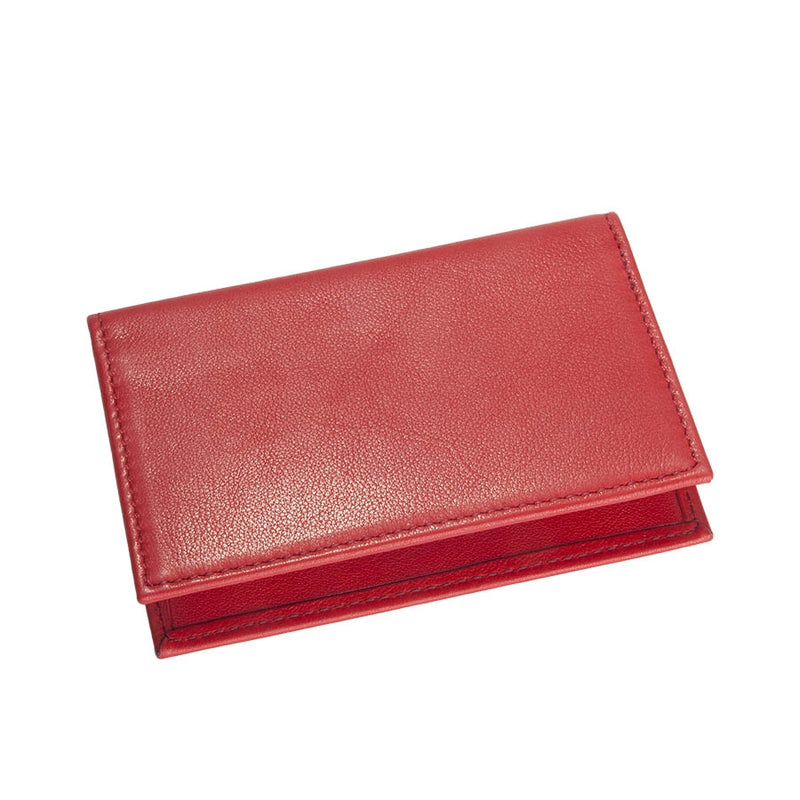 Fold-Over Business Card Case Red Traditional Leather