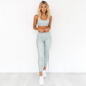Women Dotted Tracksuit Tank Top Leggings