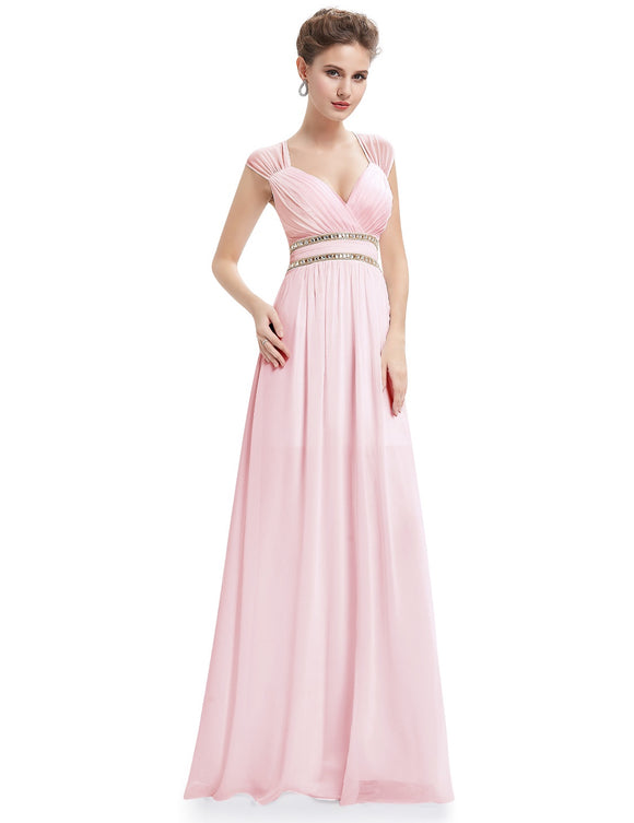 Rhinestone Waistband Bridesmaid Dress Pink