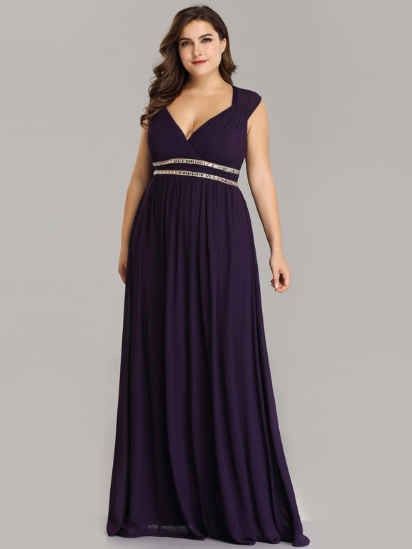 Rhinestone Waistband Bridesmaid Dress Dark Purple