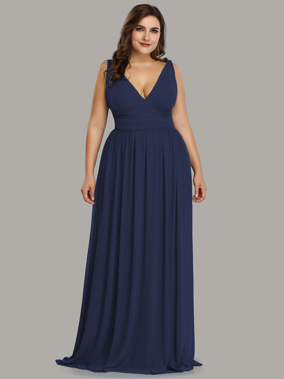Navy Blue Deep  V Elegant Bridesmaid Dress