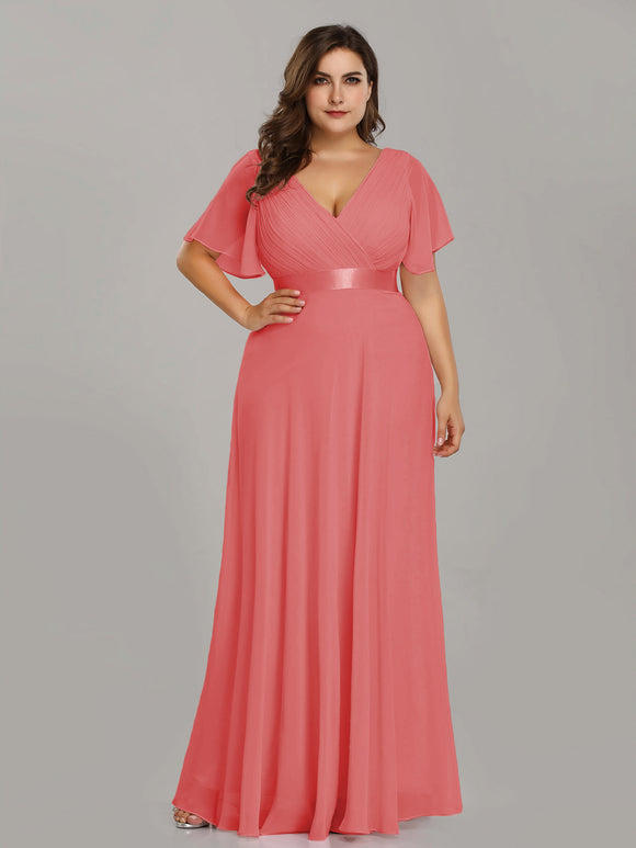 Ruffle Sleeve Bridesmaid Dress Coral