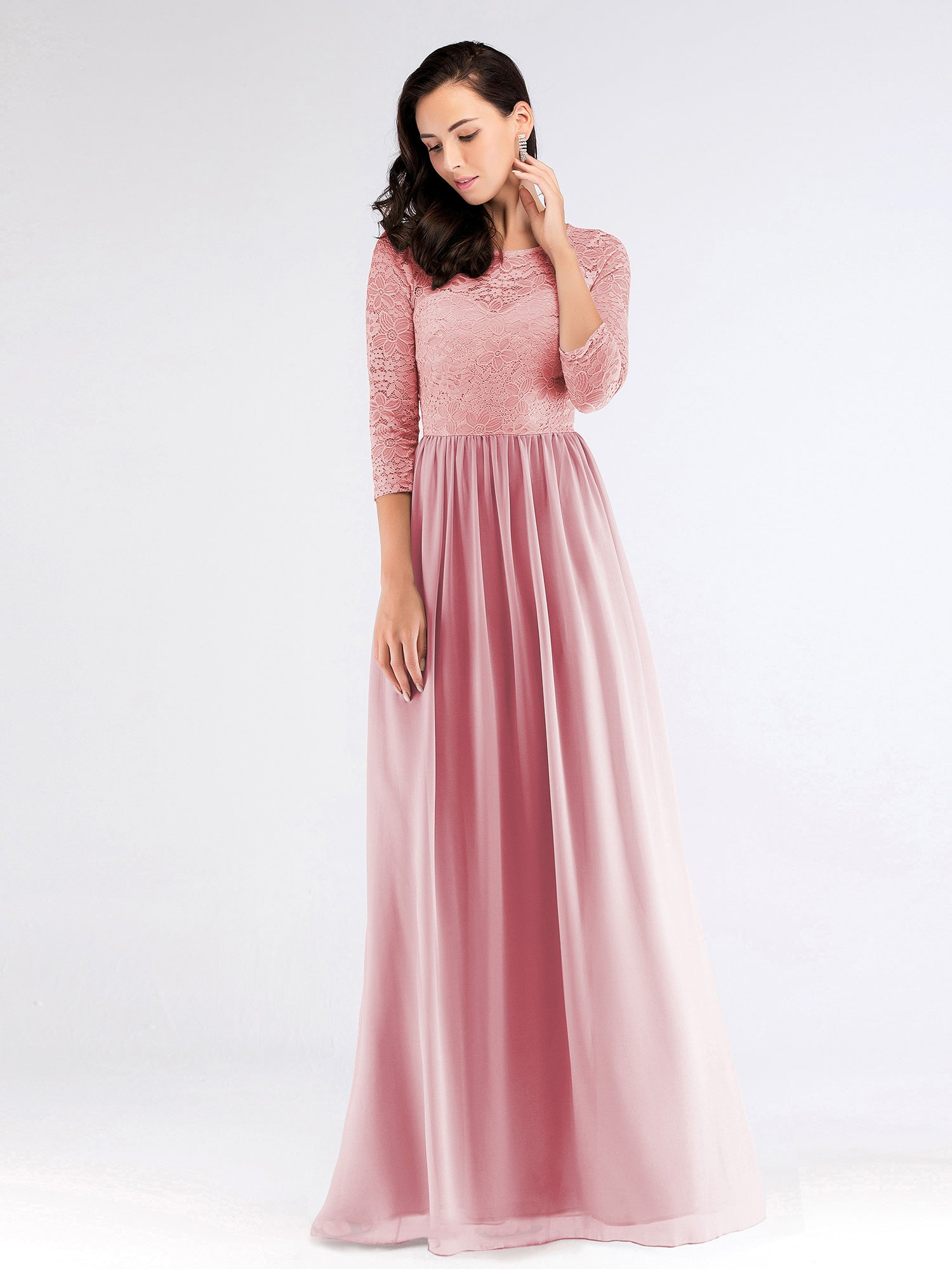 ea644891a442 Long Bridesmaid Dress With Lace Bodice