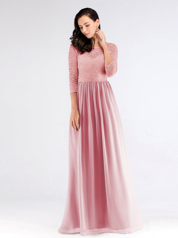 Lace 3/4 Sleeve Pink Bridesmaid Dress