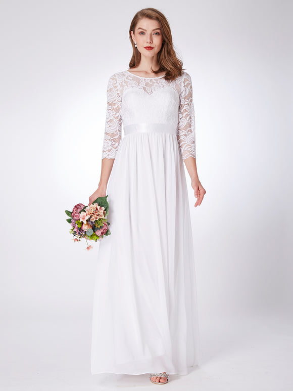 Lace Sleeve Bridesmaids Dress White