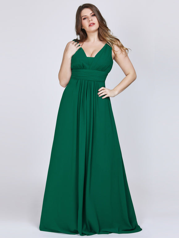 Deep V-Neck Bridesmaid Dress Dark Green