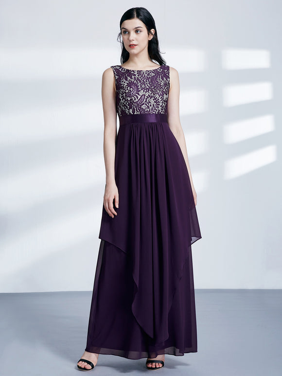 Lace & Chiffon Two Tiered Hem Deep Purple