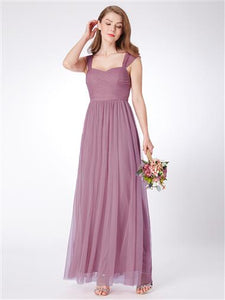 Rose Pink Tulle Overlay Bridesmaids Dress