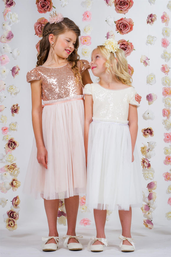 Sequin Mesh Pleated Flowergirl Dress