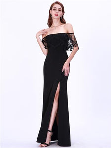 Long Off The Shoulder Black Lace Ball Dress