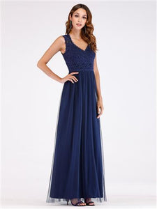 Lace and Tulle A-Line Dress Navy