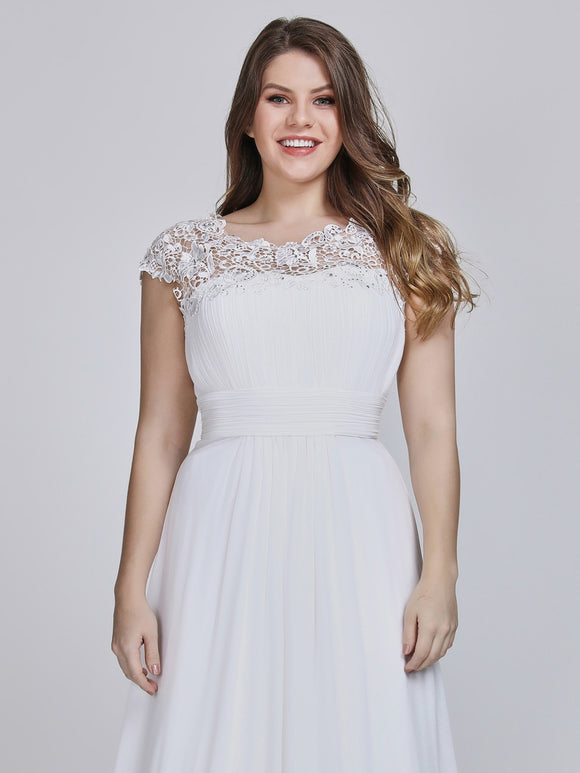 White Lacey Neckline Open Back Bridesmaid Dress