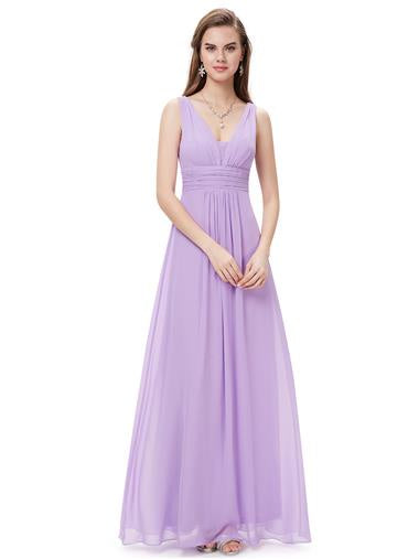 Deep V-Neck Bridesmaid Dress Lavender